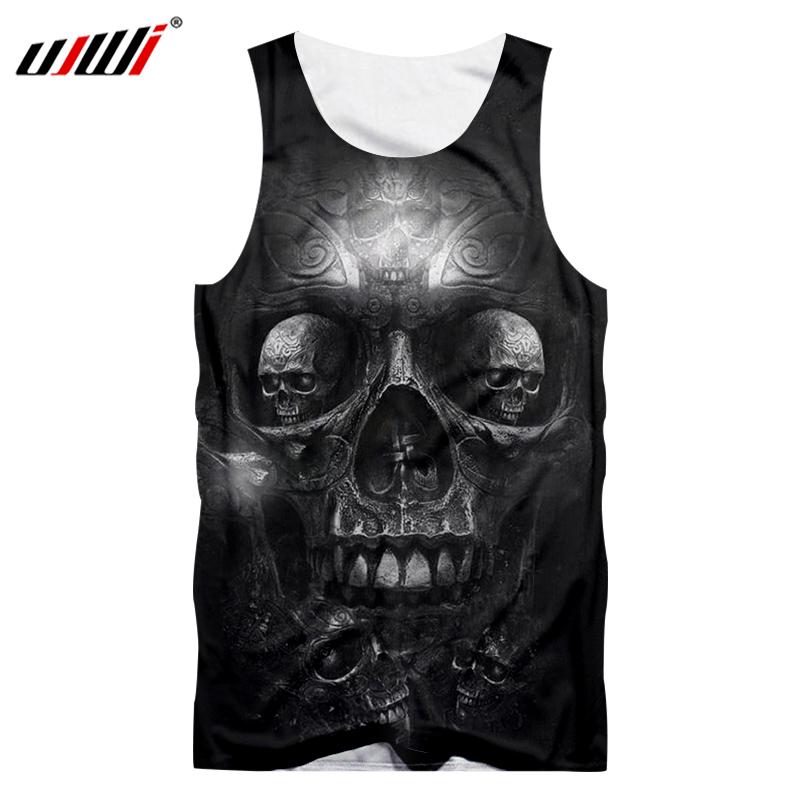 UJWI Men Casual   Tank     Top   Cool Print Metal Skull 3d Singlets Man Hip Hop Sportwear Undershirt Sleeveless Shirt O Neck Vest 5XL