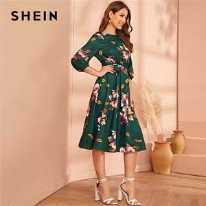 Image 2 - SHEIN Green Abaya Elastic Waist Belted Floral High Waist Dress Women Spring Autumn Bishop Sleeve Flared Elegant Long Dresses