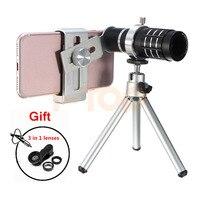 HD 12x Telephoto Zoom Lens Telescope Fish Eye Wide Angle Macro Lenses For IPhone 7 6