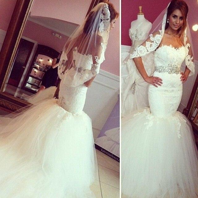 Vintage Dress of Bridal Mermaid Cut  Long Tail Wedding Dresses