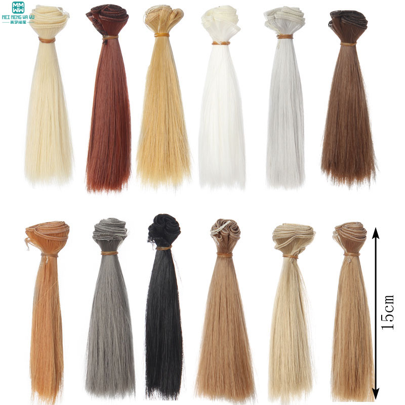 1pcs 15cm*100CM black gold brown straight hair for dolls <font><b>1</b></font>/3 <font><b>1</b></font>/<font><b>4</b></font> <font><b>BJD</b></font> doll <font><b>wigs</b></font> Accessories image