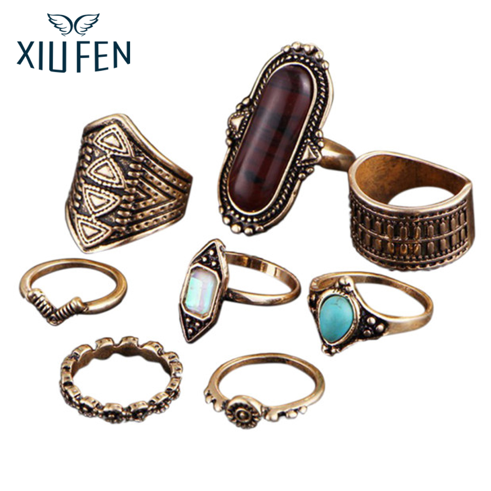 XIUFEN 2018 Hot 8pcs/set Above The Knuckle Rings Set Women Boho Beach Midi Finger Rings Female Jewelry Gift Party ZK35