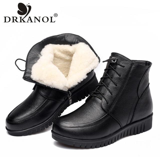 DRKANOL 2018 Mulheres da Neve do Inverno Botas de Couro Genuíno Preto Clássico de Lã Grossa Pele Quente Ankle Boots de Salto Baixo Sapatos de Mulheres botas