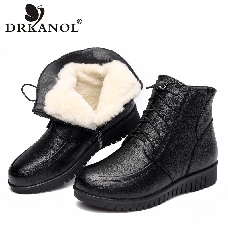 DRKANOL 2018 Women Winter Snow Boots Classic Black Genuine Leather Thick Wool Fur Warm Ankle Boots Low Heel Shoes Women Boots salu winter fashion sheep suede boots classic ankle shoes genuine leather wool fur warm square high heel women boots
