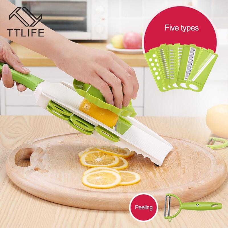 TTLIFE Küche tragbare Mandoline Slicer Gemüseschneider mit 5 - Küche, Essen und Bar - Foto 2