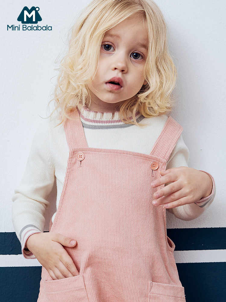 Minibalabala בנות תינוק סוודר ילדים סרוג אביב בגדי מוצק גולף סוודרים סוודר עבור בנות בגדים 2-7 T