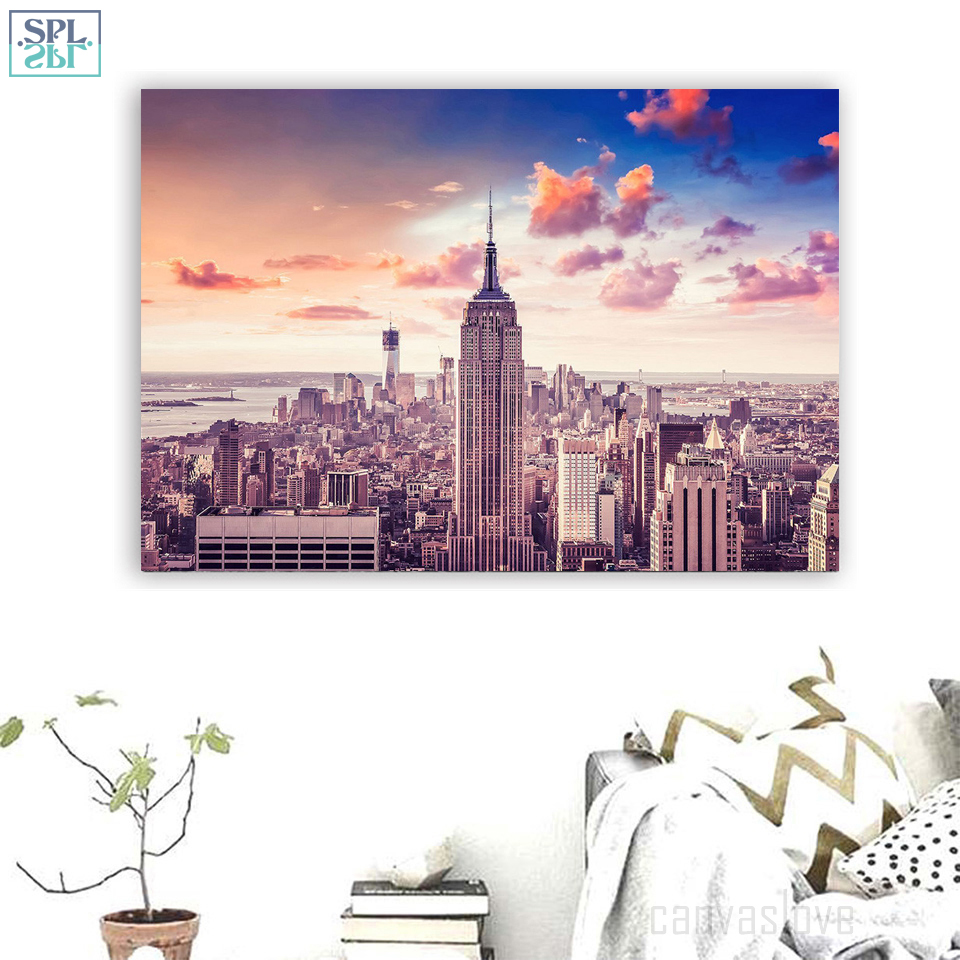 New York City Modern Canvas Painting Print Picture Home: SPLSPL 1 Piece New York City Building Painting Aerial View