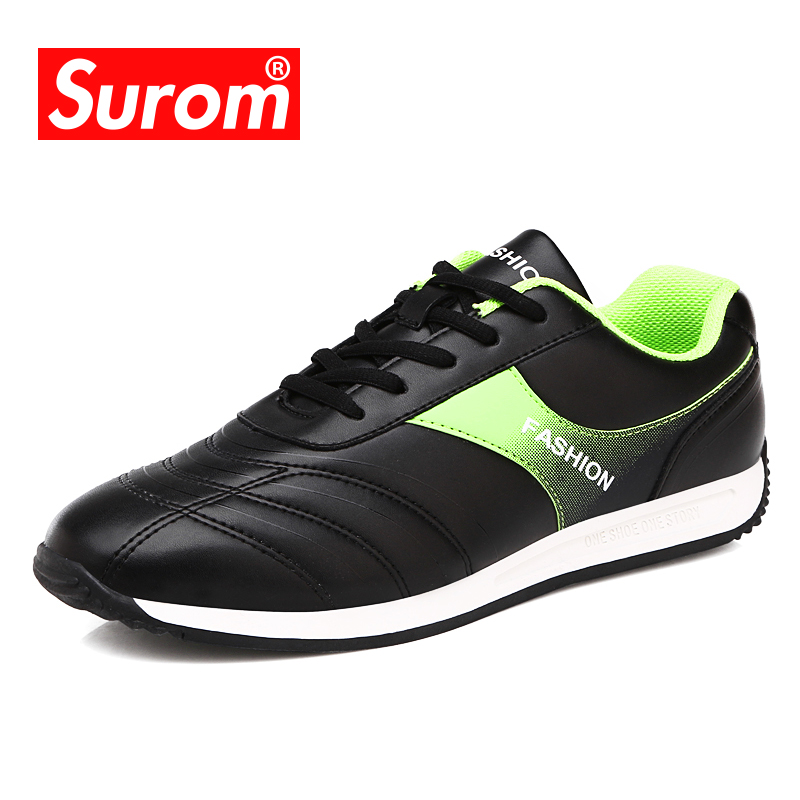 SUROM 2018 Autumn Male Trendy Shoes For Men Krasovki Lace up Breathable Sneakers Comfortable Flat Heel Men