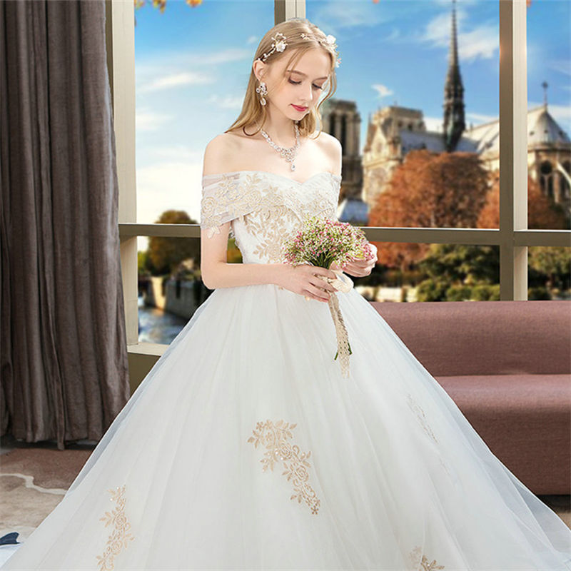 2019 New Style Luxury Slash Neck Backless Dress Sexy Ball Gown Women Short Floral Wedding Chinese Style Party Dresses Wholesale