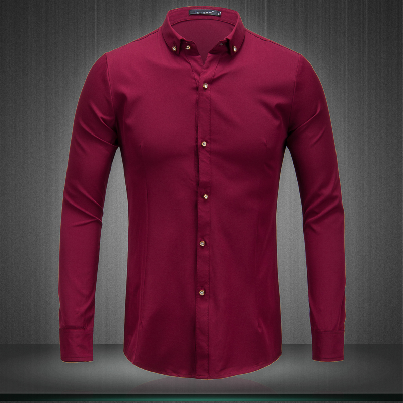 New Men s Fashion Boutique drill buckle formal wedding dress long sleeve shirts Men Pure color