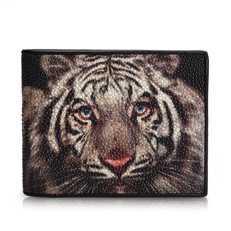 Thailand Genuine Stingray Skin Men s Short Wallet Card Purse Tiger Printing Designer Exotic Leather Male