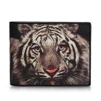 Thailand Genuine Stingray Skin Men's Short Wallet Card Purse Tiger Printing Designer Exotic Leather Male Trifold Wallet For Man