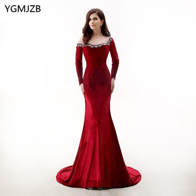29701666541 Bordeaux velours longue robe de soirée sirène 2018 avec manches longues col  transparent perlé robe de
