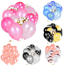 12 inch Latex Agate Balloon Foil Sequin Confetti Transparent Party Balloon 10 20pcs a lot Wedding Baby Shower Decoration JL0022(China)