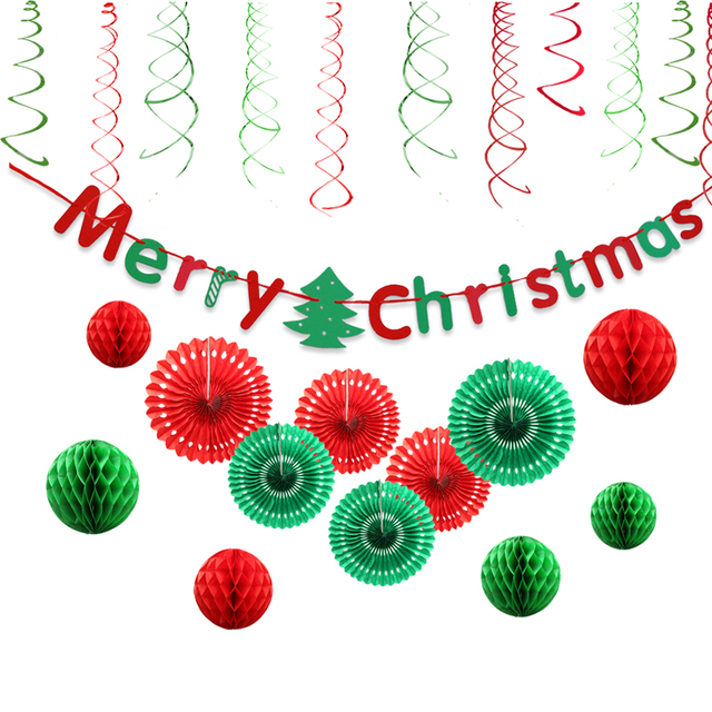25pcs red green merry christmas banner hanging swirls paper fan honeycomb party decorations kits for home - Merry Christmas Banner