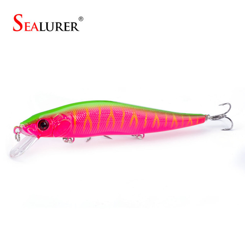 SEALURER 1PCS 14cm 23g Fishing Lure Minnow Hard Bait With Three Fishing Hooks Fishing Tackle Wobbler 3D Eyes Crankbait