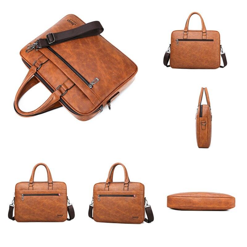 Image 3 - JEEP BULUO Famous Brand Men Briefcase Bag office Business Leather  Shoulder Crossdody Bag Travel 14Laptop iPad A4 Files  HandbagsBriefcases