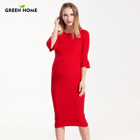 Hot RU Maternity Long Dress For Pregnant Woman Thick Cotton Pregnancy Dress In Winter
