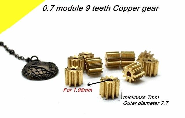 5 STÜCKE 0,7 Mt 9 T Kupfer getriebe, 0,7 modul 9 zähne gerade getriebe Für 1,98mm, dicke 7mm, außendurchmesser 7,7