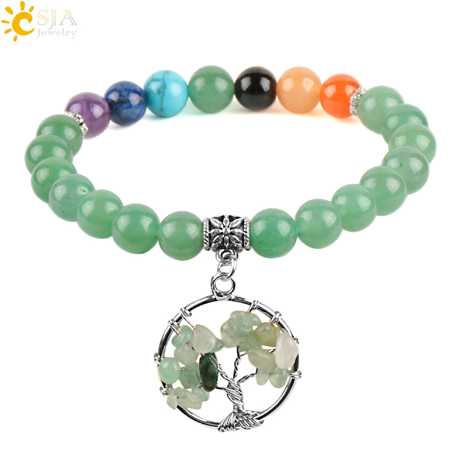 CSJA 7 Chakras Natural Stones Green Aventurine Bracelets Bangles Yoga Mala Beads Healing Tree Of Life Pendant E878