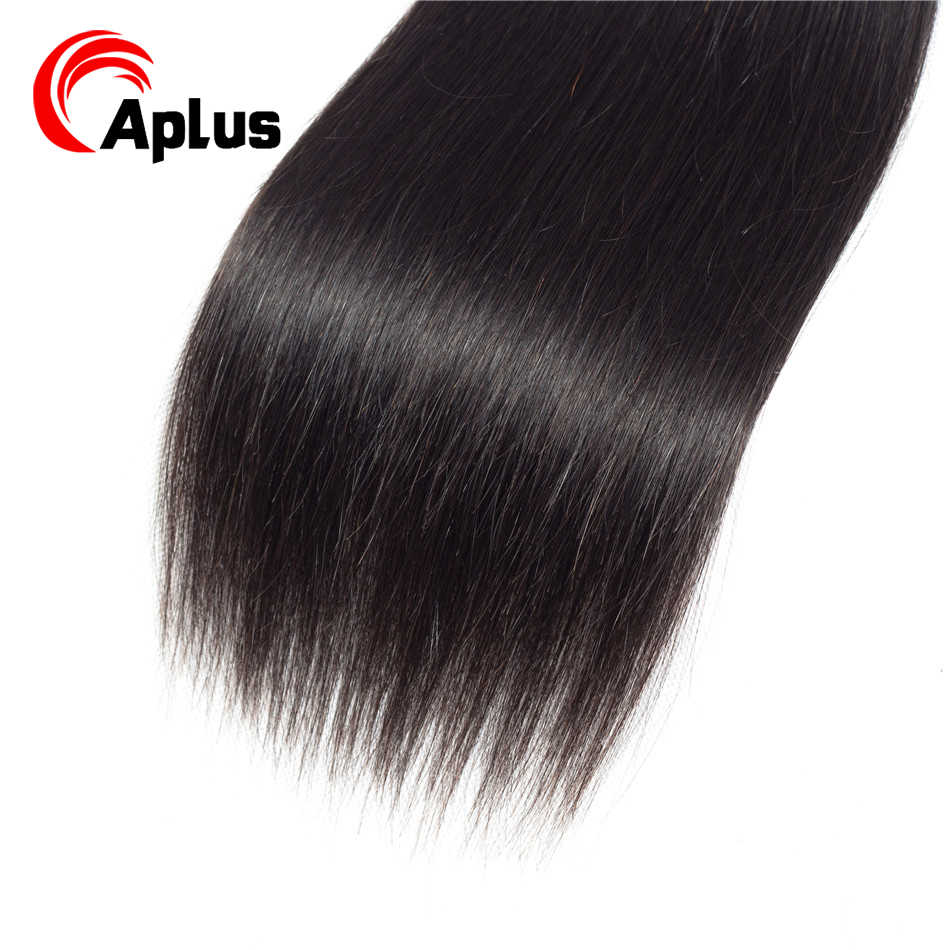 Aplus Hair Brazilian Hair Weave Bundles With Closure Silky Straight Hair 6 bundles with closure With Baby Hair Non Remy 6-24inch