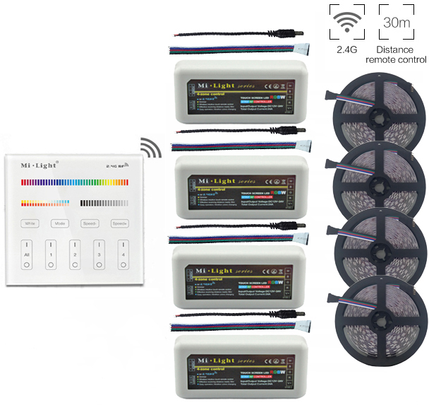 5m/10m/15m/20m 5050 RGBW RGBWW Led Strip Light DC12V+Mi.ight 2.4G RGBW Led Controller+B4 Wall Mount Led Panel Remote