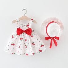 New Fashion Leuke Baby Kids Peuter Meisjes Mouwloos Cherry Dot Prinses Comfortabele Jurken Boog Hoed Outfits Vestiti Bambina # LR3(China)