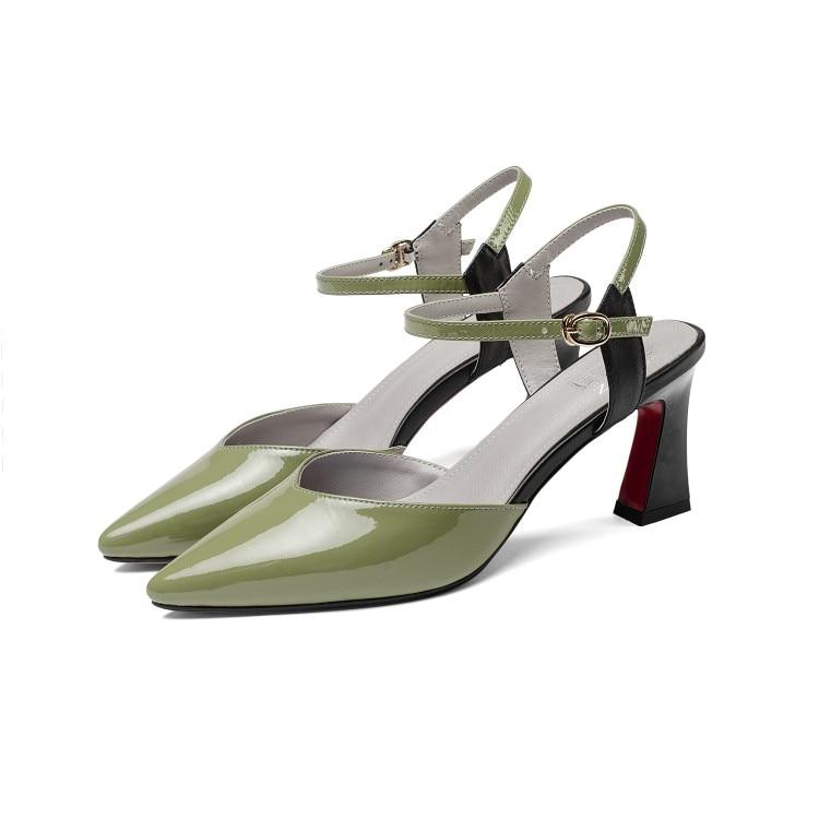 Mljuese 2018 여성 샌들 정품 가죽 버클 스트랩 녹색 색상 검투사 지적 발가락 하이힐 펌프 여성 크기 33 43-에서하이힐부터 신발 의  그룹 2