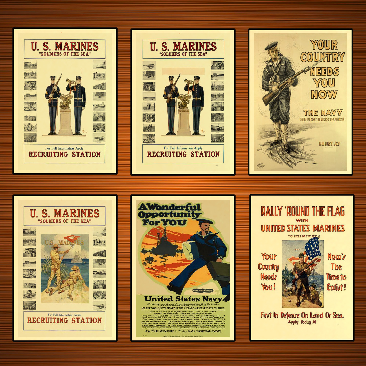 Vintage 1910s USA WW1 Propaganda Poster Us. Marines Recruiting Station Classic Canvas Paintings Wall Stickers Home Decor Gift image