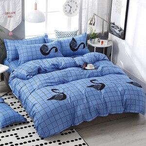 Image 2 - FUNBAKY 3/4 teile/satz Einfache Stil Streifen Tröster Bettwäsche sets Baumwolle Bettbezug set Bett Leinen Auskleidungen Keine Füllstoff home Textil