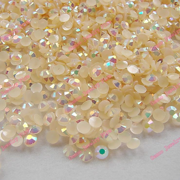Champagne AB 2mm,3mm,4mm Nail Art Resin Jelly Rhinestone Round Flatback For DIY Nail Art Accessories