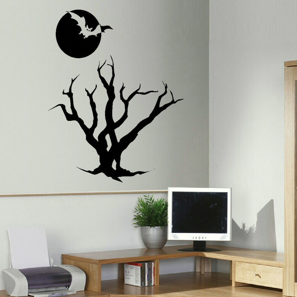 compare prices on large chinese wall sticker online shopping buy halloween wall sticker vinyl wall decal large halloween bat tree moon transfer stenicl party bar decor