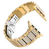 NEW For Apple Watch band 38mm 42mm Stainless Steel Metal Diamonds Replacement Wristband Sport Strap for Apple Watch Series 3 2 1