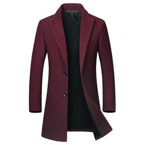 Image 3 - Winter Wool Jacket Mens High quality Wool Coat casual Slim collar wool coat Mens long cotton collar trench coat