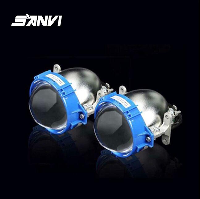 Wholesale price promotion for sanvi blue color bi led projector lens light xenon hid bulb car auto light accessories wholesale for new projector light tunnel fit mp625 projectors