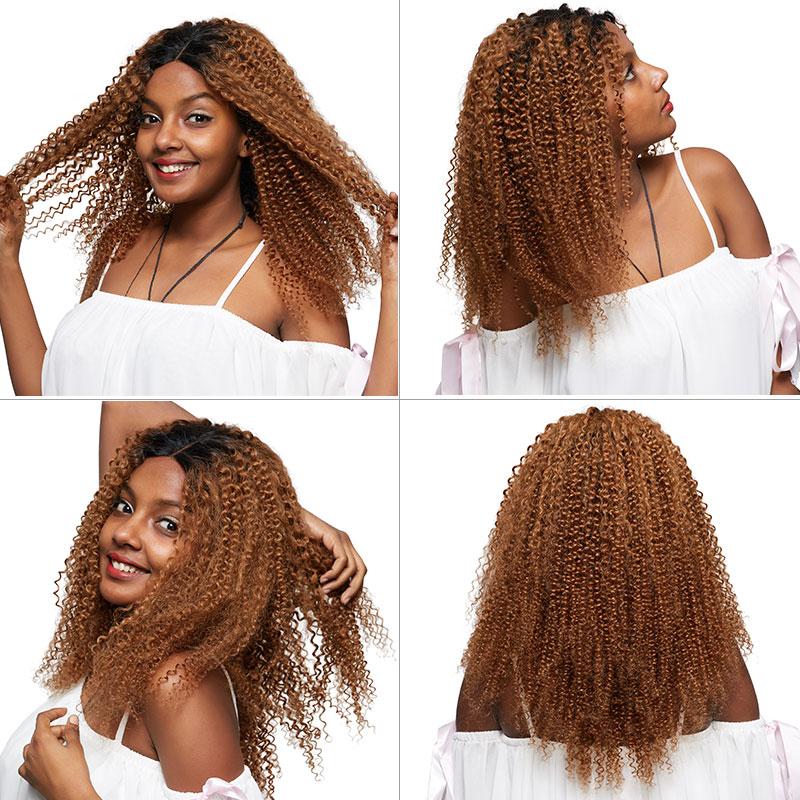Pinshair Ombre Blonde Afro Verworrene Lockige Menschenhaar Perücken für Frauen T1B/30 Brasilianische Spitze Front Menschliches Haar Perücke nicht Remy Verschluss Perücke - 6