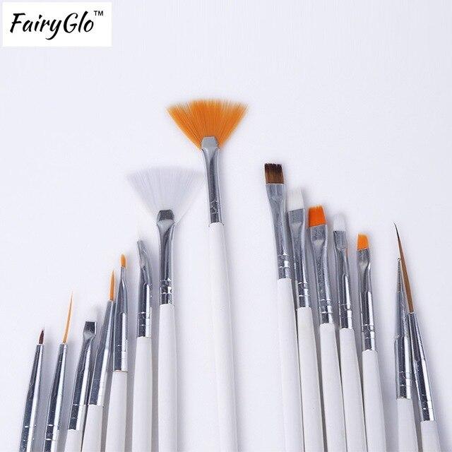 FairyGlo 15Pcs Manicure Brush Nail Painting Dot Draw Pen Nail Brush ...