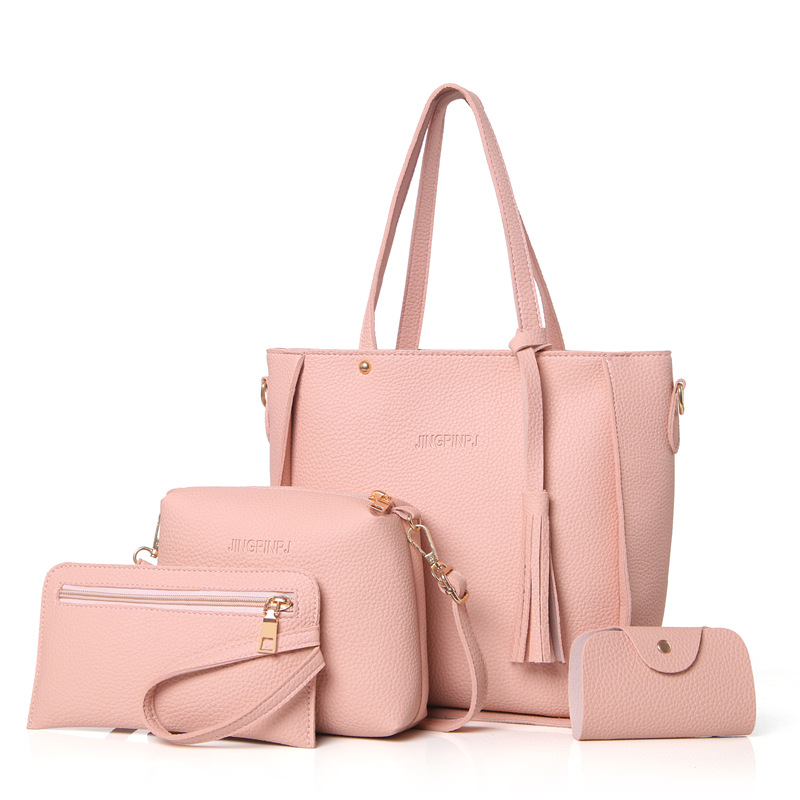 Women Bag Set Top-Handle Big Capacity Female Tassel Handbag Fashion Shoulder Bag Purse Ladies PU Leather Crossbody Bag 1