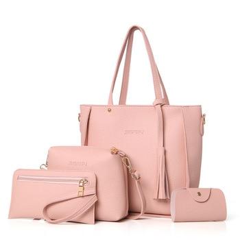 Women Bag Set Top-Handle Big Capacity Female Tassel Handbag Fashion Shoulder Bag Purse Ladies PU Leather Crossbody Bag 1