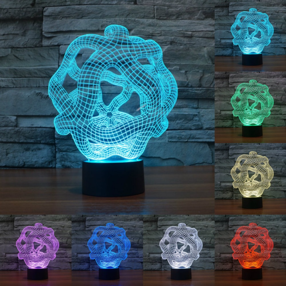 Creative 3D Illusion Lamp LED Night Light 3D Abstract Graphics Acrylic Touch USB Table Lamp Lighting Home Decorate IY803521
