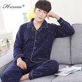 Pijamas del nuevo algodón solapa 2017-Men planta de impresión cómoda de algodón de ocio trajes de ropa para el hogar R211