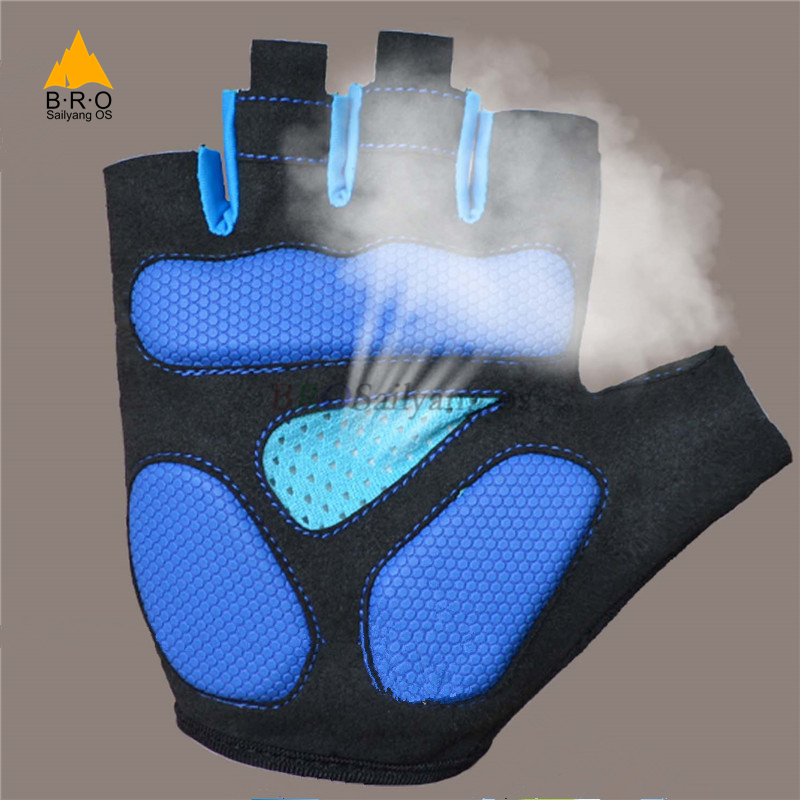 Cool Breathable Mens Gloves Non-Slip Bike Cycling Gloves Half Finger Gloves New Three-dimensional Hand Pad Bicycle Short Gloves