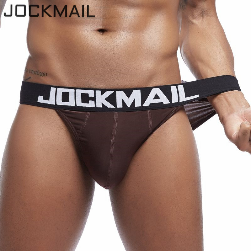 JOCKMAIL Sexy Mens Bikini Briefs Soft Breathable Ice Silk Gay Underwear Men's Transparent Jockstrap Tanga Hombre Calzoncillos
