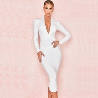 Wholesale 2019 Newest Women Black white red blue Long sleeve Deep V neck Sexy Night club celebrity Bandage Dress (H2820)