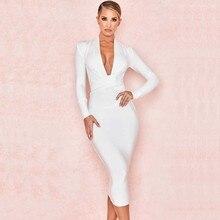 Wholesale 2019 Newest Women Black white red blue Long sleeve Deep V-neck Sexy Night club celebrity Bandage Dress (H2820)