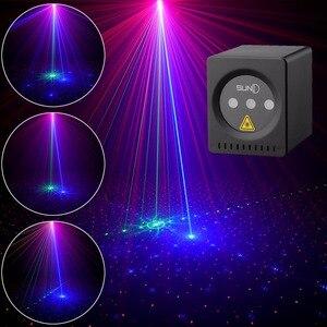 Мини портативный лазер 8 RGB узоров беспроводной лазерный проектор перезаряжаемый сценический свет диско DJ Бар Клуб Вечеринка рождественско...