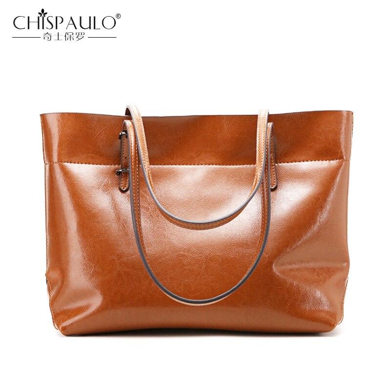 CHISPAULO marque en cuir véritable femmes sacs à bandoulière de haute qualité grande capacité en cuir de vache dames sacs à main femme décontracté fourre-tout