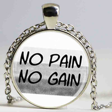No pain no gain gym fitness training bodybuilding pendant necklace,glass dome Necklaces & Pendants Fashion Jewelry DY15