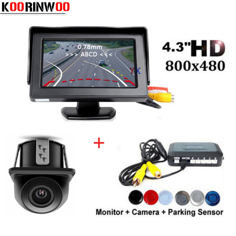 Koorinwoo Auto Trajectory Parking Driving Camera Parktronic Car Parking Sensors 4 Buzzer bibi Rear view Car Monitor Video System koorinwoo car parking sensors 8 redars video system auto parking system bibi alarm sound alarm parking assistance parktronic
