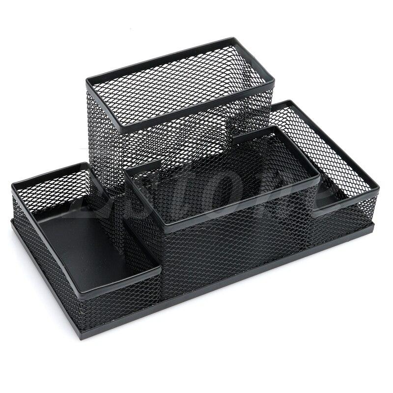 Metal Mesh Office Desktop Organizer Pen Pencil Box Stationery Holder Case Black